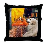 Cafe / Great Pyrenees Throw Pillow