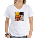 Cafe / Great Pyrenees Women's V-Neck T-Shirt