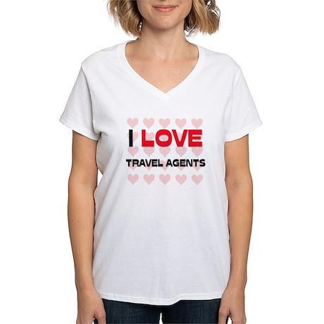 I LOVE TRAVEL AGENTS Women's V-Neck T-Shirt