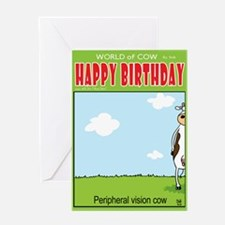 Peripheral Vision Cow Greeting Card