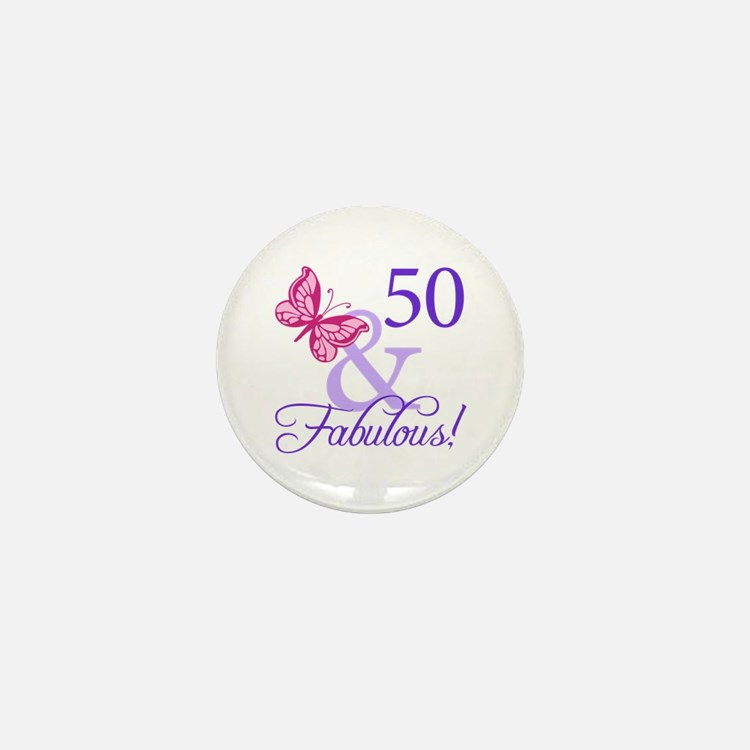 50 And Fabulous Birthday Gifts Mini Button (10 pac