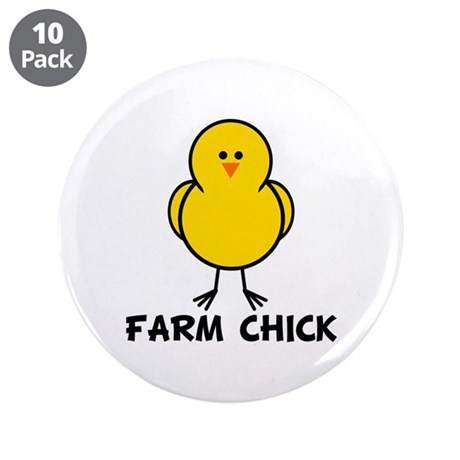 """Farm Chick 3.5"""" Button (10 pack)"""