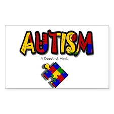 """Autism - A Beautiful Mind"" Rectangle Sticker 50"