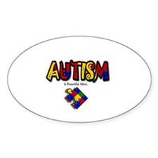 """Autism - A Beautiful Mind"" Oval Decal"