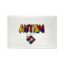 """Autism - A Beautiful Mind"" Rectangle Magnet (10 p"