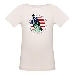 Organic Infant Baby Lap T-Shirt - 4th of July Flag