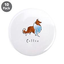 "Collie Illustration 3.5"" Button (10 pack)"