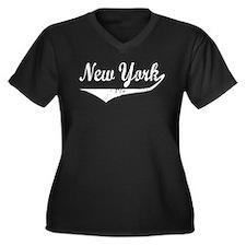 New York Women's Plus Size V-Neck Dark T-Shirt