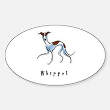 Whippet Illustration Oval Decal