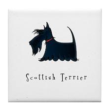 Scottish Terrier Illustration Tile Coaster