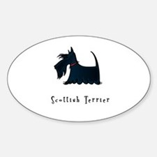 Scottish Terrier Illustration Oval Decal