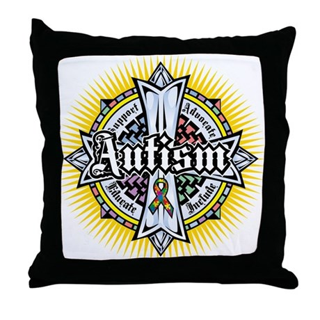 Autism Celtic Cross Throw Pillow