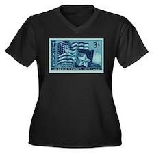 Unique Secession Women's Plus Size V-Neck Dark T-Shirt