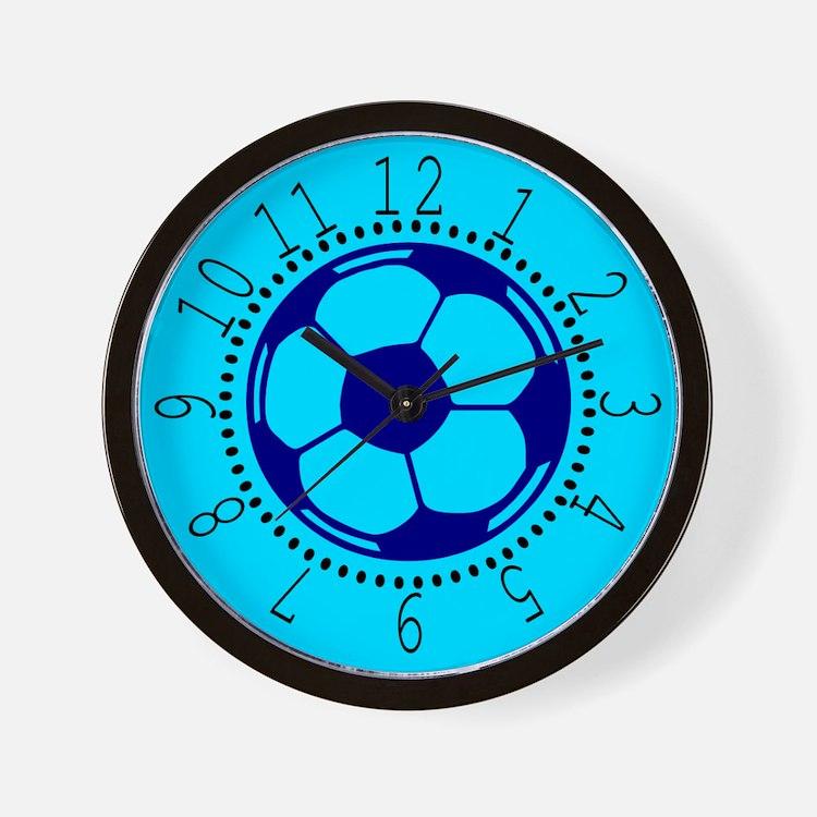 Blue Soccer Ball Wall Clock