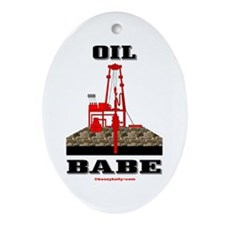 Oil Babe Oval Ornament,Roughneck Wife,Oil
