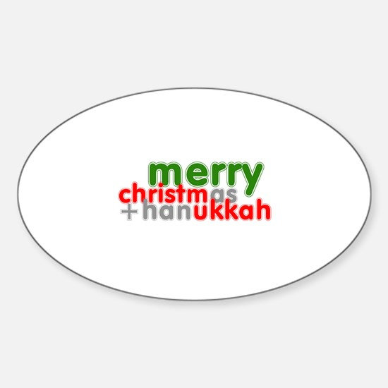 Merry Christmas and Hanukkah ~ Oval Decal