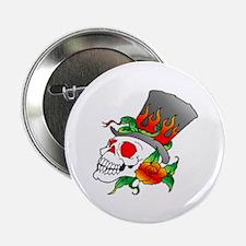 "Skull w/ TopHat Tattoo 2.25"" Button"