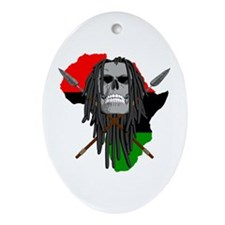 Warrior Skull Oval Ornament