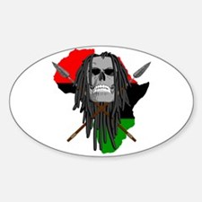 Warrior Skull Oval Decal