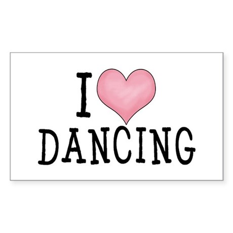 I Love Dancing Rectangle Sticker