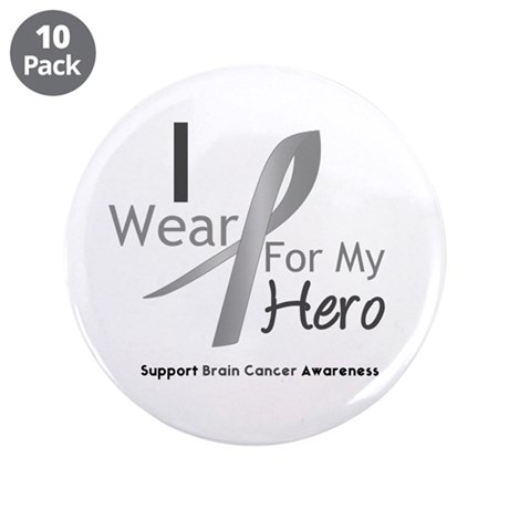 "Gray Ribbon Hero 3.5"" Button (10 pack)"