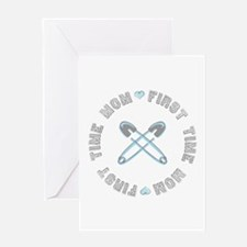 First Time Mom Blue Greeting Card