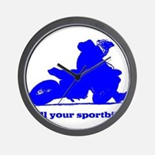 yamaha blue kill your sportbi Wall Clock