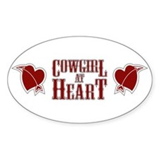 Cowgirl at Heart Oval Decal