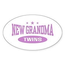 New Grandma Twins Oval Decal