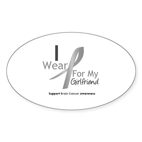Gray Ribbon Girlfriend Oval Sticker