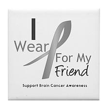Gray Ribbon Friend Tile Coaster
