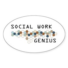 Social Work Genius Oval Decal