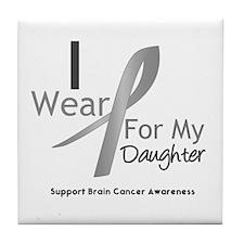 Gray Ribbon Daughter Tile Coaster