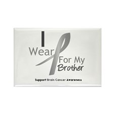 Gray Ribbon Brother Rectangle Magnet