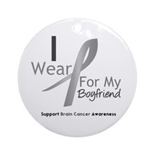 Gray Ribbon Boyfriend Ornament (Round)