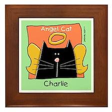 CHARLIE Black Cat Angel Framed Tile