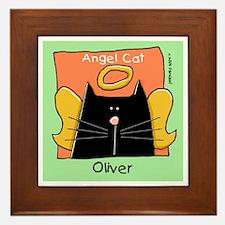 OLIVER Black White Cat Angel Framed Tile