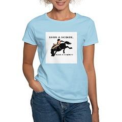 Save a horse, Ride a Cowboy Women's Pink T-Shirt
