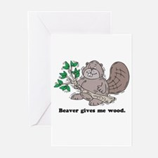 Beaver gives me Wood Greeting Cards (Pk of 10)