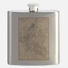 Vintage Battle of Bull Run Map (1886) Flask