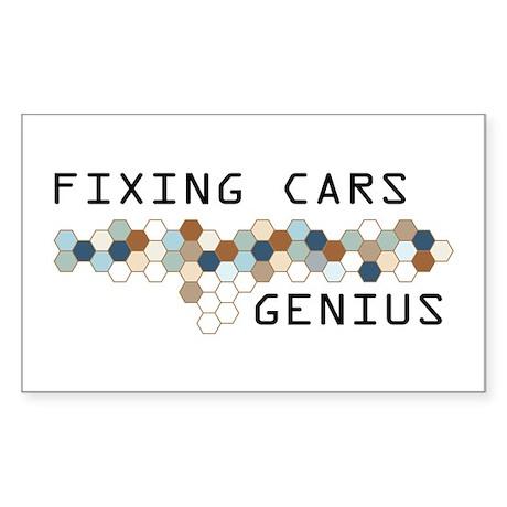 Fixing Cars Genius Rectangle Sticker