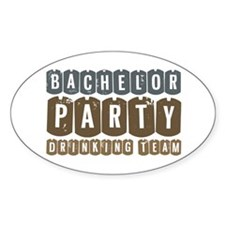 Bachelor Drinking Team Oval Sticker (10 pk)