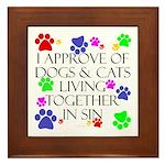 Pets living in sin Framed Tile