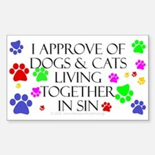 Pets living in sin Rectangle Decal