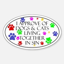 Pets living in sin Oval Decal