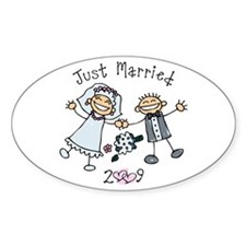 Stick Just Married 2009 Oval Decal