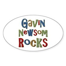 Gavin Newsom Rocks Oval Decal