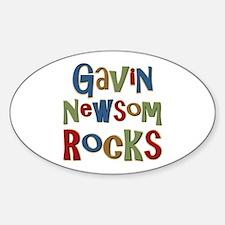 Gavin Newsom Rocks Oval Decal