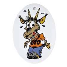 Cute Goat soup Oval Ornament