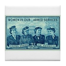 Cute Womens army corps Tile Coaster